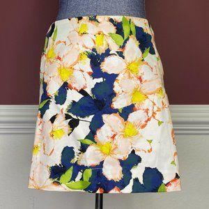 NWT J. Crew white floral print a-line skirt sz 4